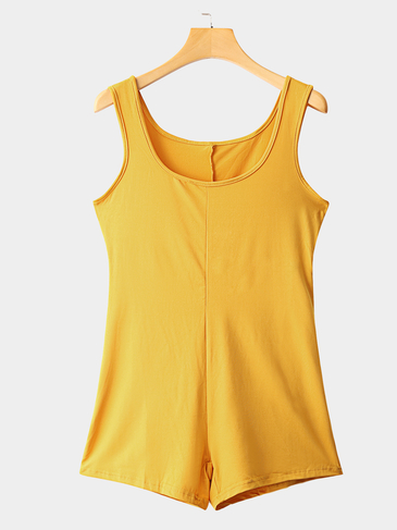 Yellow Sleeveless Round Neck Playsuit