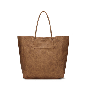 Brown  Leather-look Shopper Bag with Removable Clutch