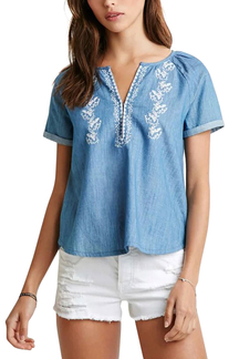 Embroidery V Neck Pleated Denim T-shirt