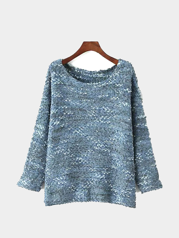 Eyelash Knit Ball Sweater in Blue
