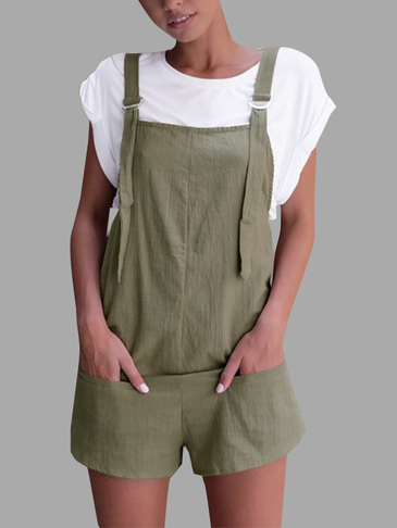 Casual Sleeveless Overalls Romper in Green