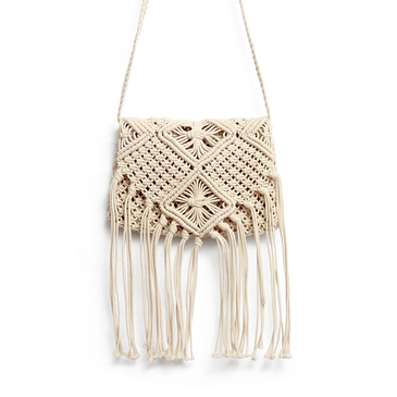 Beach Crochet annodata con frange Crossbody in beige