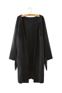 Black Suede Duster Coat with Fringing