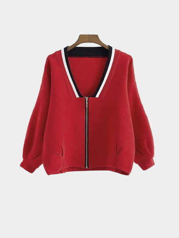 Red V-neck Zip Front Closure Knieted Fashion Jacket