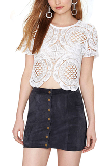 White Hollow Out Short Sleeve Crochet Top