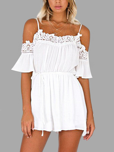 White Sexy Cold Shoulder Lace Details Playsuit