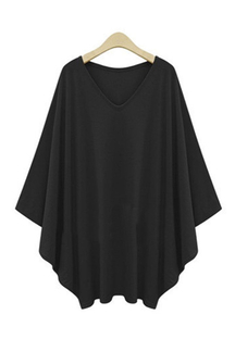 Плюс размер Black Sleeves Blouse
