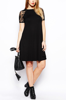 Plus Size Swing Dress with Lace Sleeves