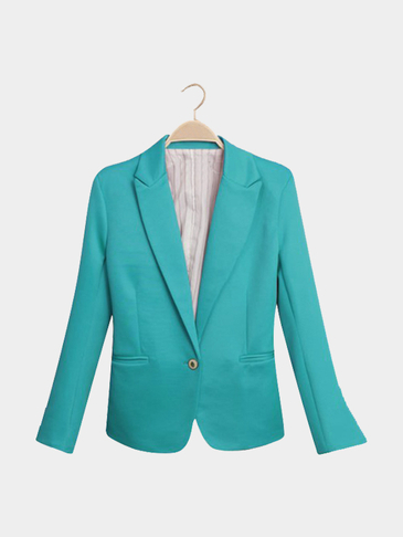 Lake Blue Fashion Long Sleeves Collar One Botton Front Blazer