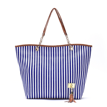 Blue Stripe Pattern Shoulder Bags