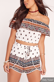 Off Shoulder Random Floral Print Drawstring Waist Co-ord Set