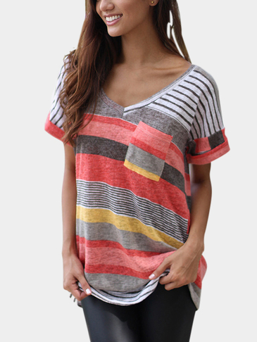 Fashion Stripe Random T-shirt Bloc de couleur