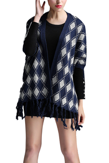 Navy Grid Printed Knit Tassel Cardigan