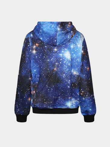 Blue Random Gradients Print Hooded Strap Front Sweatshirt