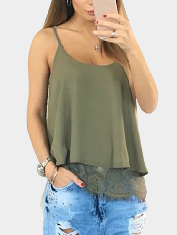 Army Green Chiffon Double Layer Lace Hem Camis