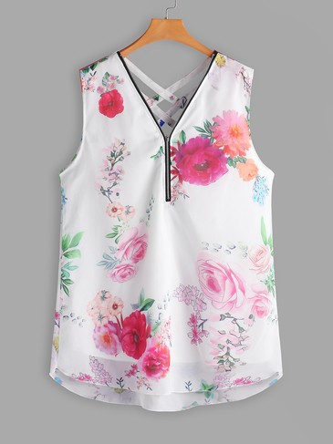 Plus Size White Criss-cross Floral Zip Front Tank