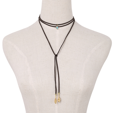 Coffee Boho Style Suede Ribbon Alloy Pendant Long Necklace
