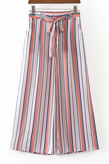 Casual Stripes Pattern Wide Leg Pants