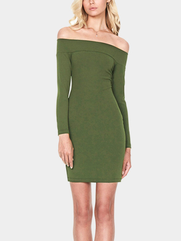 Army Green Off-shoulder Zip Back Mini Dress
