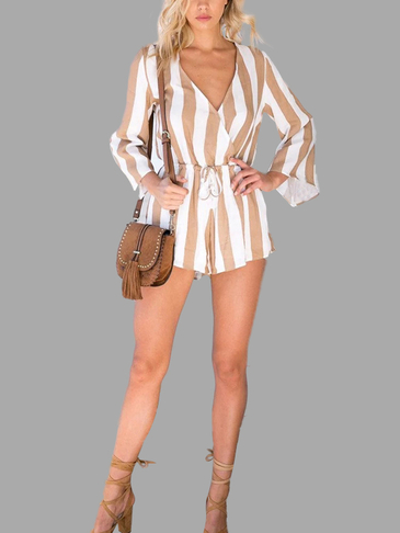 Stripe Pattern V-neck Playsuit with 3/4 Length Sleeves