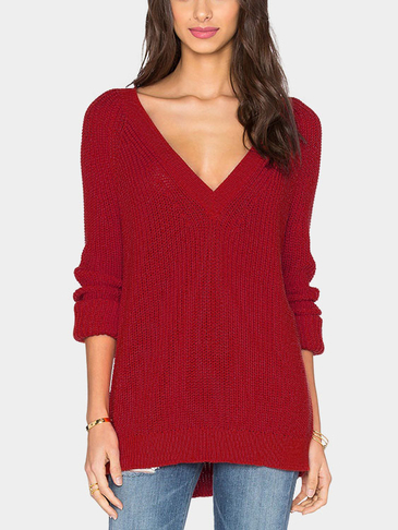 Minimalism knitted Loose Deep V Neck Sweater in Red