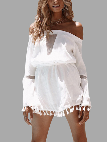 White Off-the-плечо Tassel Mini Dress
