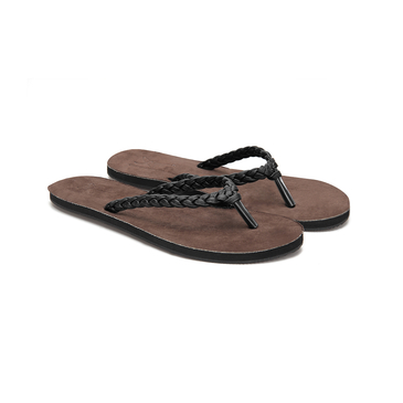 Black Casual Woven Leather Look Thong Sandals