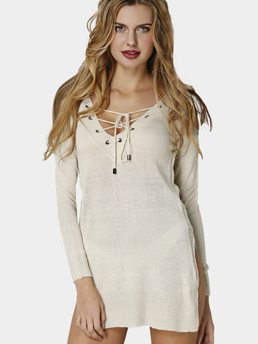 Beige Sexy V-neck Front Lace-up Jumper