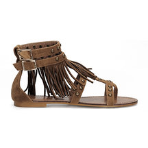 Brown Studded Pin Buckle Ankle Strap Tassel Detail Flat Sandals