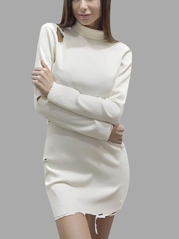 Beige Cotton Roll Neck  Mini Dress with Holes Details