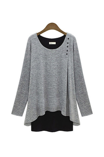 Grey Layered Plus Size Long Sleeve Top