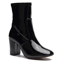 Black Patent Leather Chunky Heels Short Boots with Zipper Design