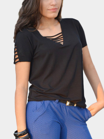 Black V-neck Cut Out T-shirt