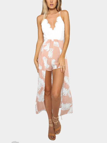 Lace Details Sleeveless Backless V-neck Playsuit