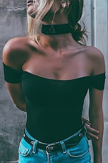 Off-The-Shoulder Short Sleeves Bodysuit in Black