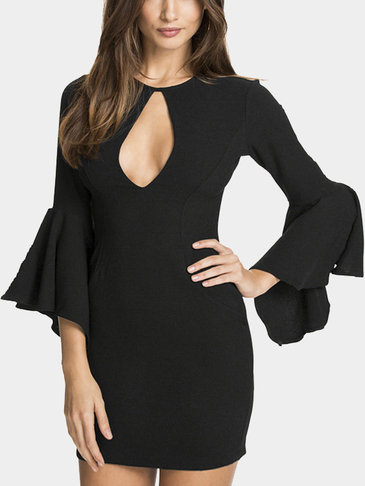 Black Keyhole Front Bell Sleeve Dress