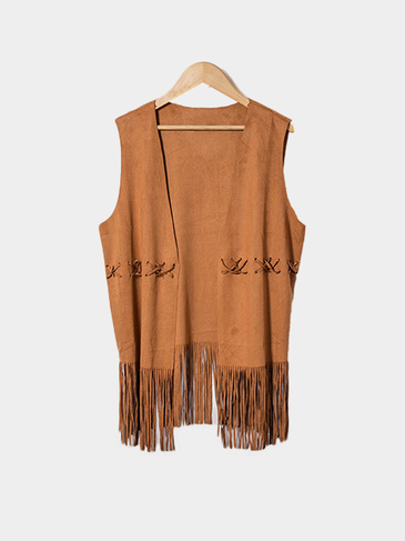 Brown Open Front Gilet with Tassel Hem