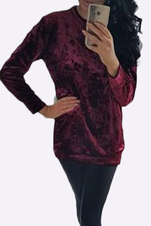 Casual Velvet Pullover Long Sleeve Shirt in Burgundy