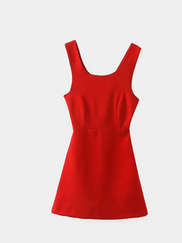 Cross Strap Self-tie Sleeveless Mini Dress in Red