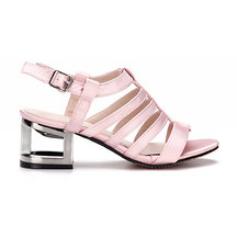 Pink Leather Look Straps Metallic Hollow Heel Gladiator Sandals