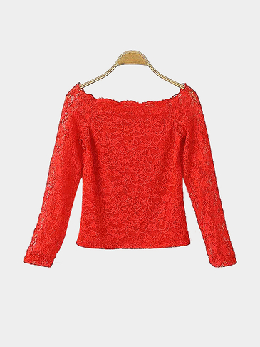 Red Off Shoulder Lace Top