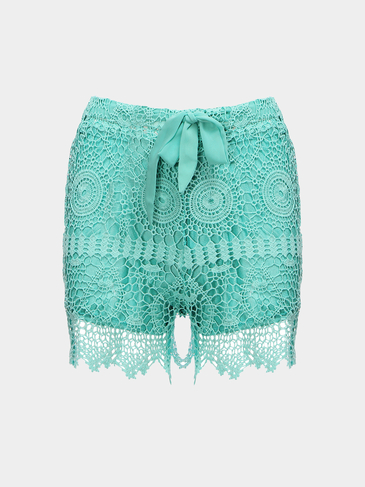 Green Lace-up Cintura Hollow Lace Shorts