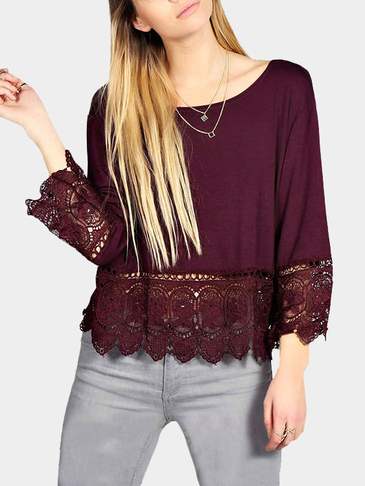 Burgundy Crochet Lace Hem Swing Top