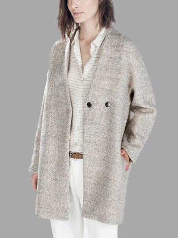 Wool V-ncek A Line Side Pockets Fshion Trench Coat