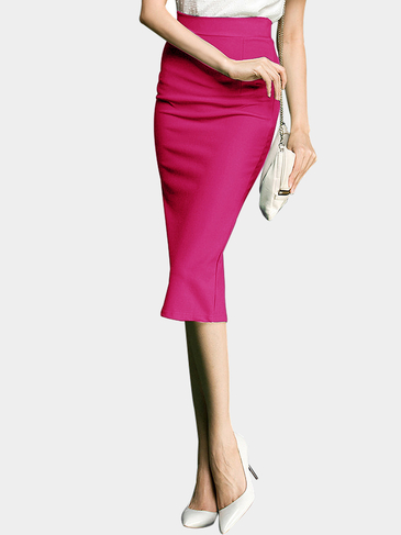 Rose Stretchy Pencil Skirt In Knit