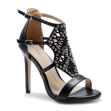 Black Rivet Embellished Hollow Design Stiletto Heels