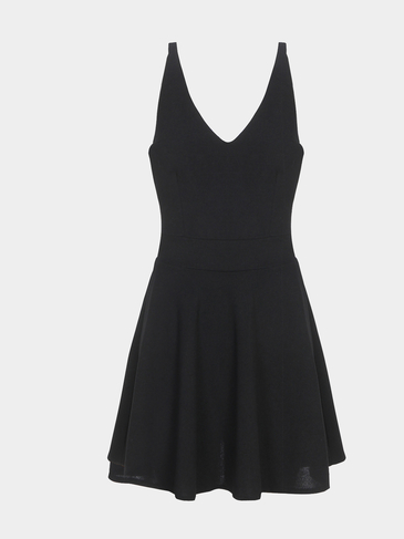 Black Plunge Backless Pleated Summer Mini Dress