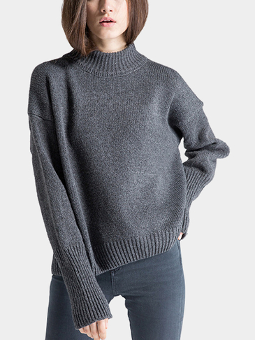 High Neck Sweater in Dark Grey