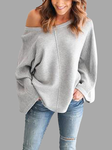 Casual Knitted Loose Round Neck Top in Grey