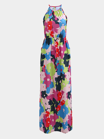 Halter Design Random Floral Print Pattern Vacation Style Maxi Dress